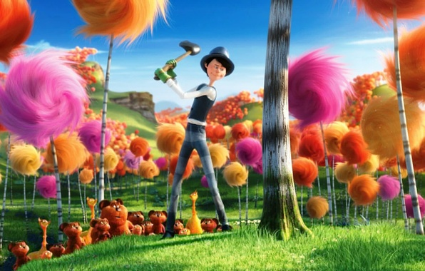 Picture forest, cartoon, axe, colors, the lorax, Danny DeVito, the lorax