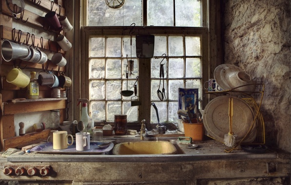 Picture window, kitchen, dishes