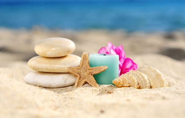 Picture sand, beach, stones, shell, relax, beach, sand, Spa, seashell, candle, spa, starfish