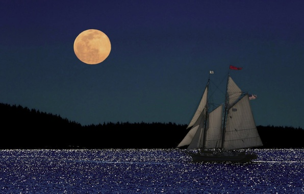 Picture sea, the moon, Nature, sailboat