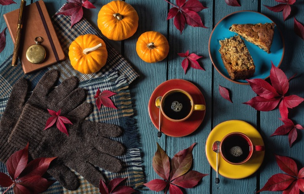 Picture autumn, leaves, watch, coffee, scarf, pie, handle, pumpkin, gloves, Notepad