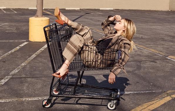 Picture asphalt, the sun, pose, blonde, costume, shoes, truck, jacket, photoshoot, pants, Chloe Grace Moretz, InStyle, …