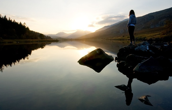 Picture the sky, girl, clouds, sunset, mountains, lake, mood, quiet