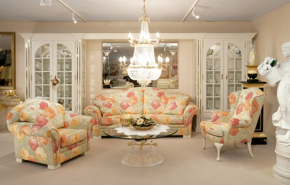 Picture design, table, sofa, furniture, interior, mirror, chairs, living room