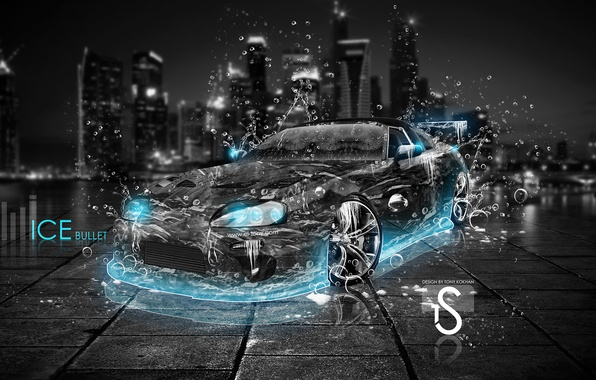 Photo Wallpaper Blue, Supra, Neon, Ice, El Tony Cars