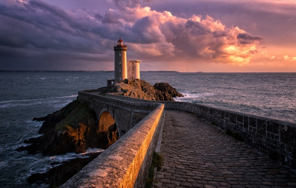 Picture sea, landscape, bridge, lighthouse, the breakwater