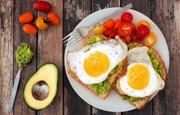 Picture Board, plate, bread, spoon, plug, scrambled eggs, vegetables, tomatoes, spices, avocado, egg, tomato, spices