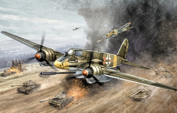 "Picture war, art, painting, aviation, ww2, Henschel Hs 129 B3, ""Tank Buster"", ground-attack aircraft"