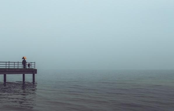 Photo wallpaper rainy, child, horizon, pierce, sea, gray clouds, the storm, male, woman