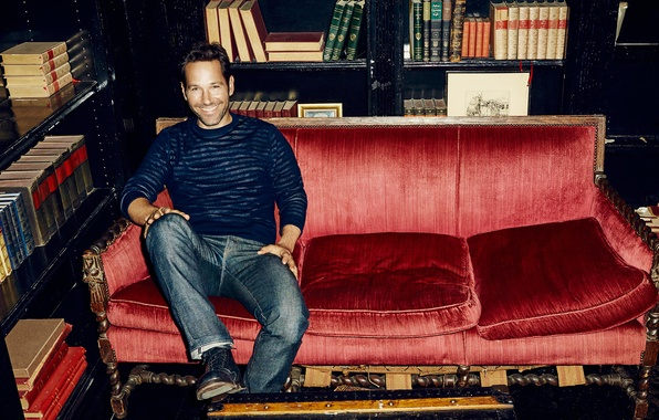 Picture smile, sofa, books, jeans, photographer, actor, journal, photoshoot, shelves, jumper, 2015, The Hollywood Reporter, Paul …