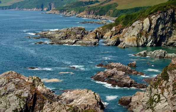 Picture sea, stones, rocks, coast, England, Devon, Mothecombe