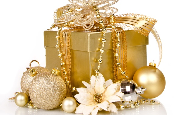 Picture decoration, gold, gift, Christmas, New year, golden, Christmas, box, gift, decoration, xmas, Merry