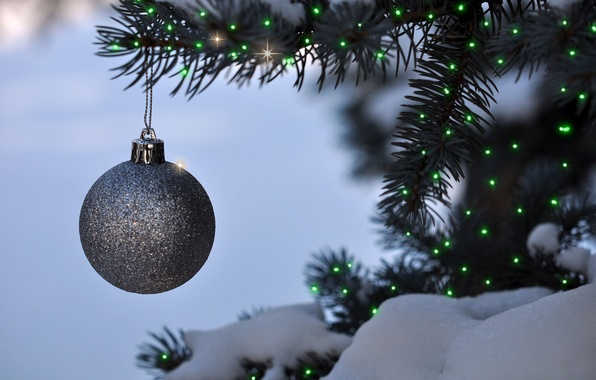 Picture toy, tree, new year, ball, Christmas, decoration, garland