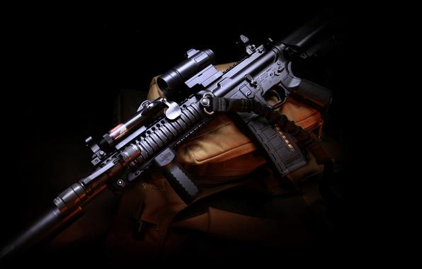 Picture weapons, gun, bag, twilight, weapon, muffler, hd wallpaper, assault rifle, Larue Tactical, assault carbine