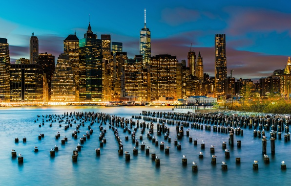 Photo wallpaper skyscrapers, support, New York, East River, the city, Lower Manhattan, USA, lights, birds, building, river, ...