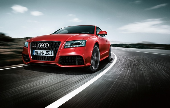 Picture road, red, Audi, speed, RS5