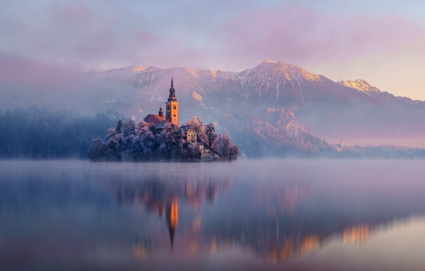 Picture forest, landscape, mountains, nature, lake, reflection, island, Church