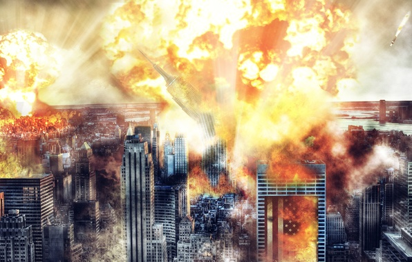 Picture atomic explosion, a nuclear bomb, goodbye america