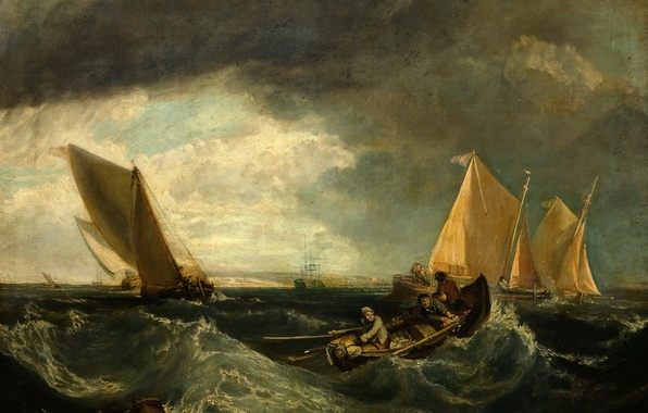 Picture sea, wave, the sky, landscape, storm, people, boat, picture, sail, Sheerness and the Isle of …