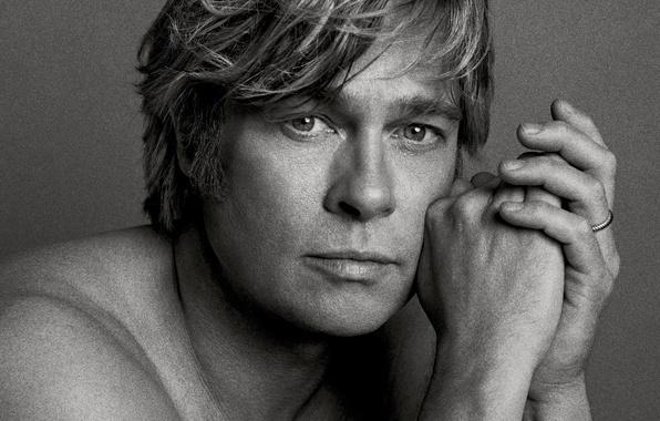 Picture photo, portrait, actor, black and white, Brad Pitt, Brad Pitt