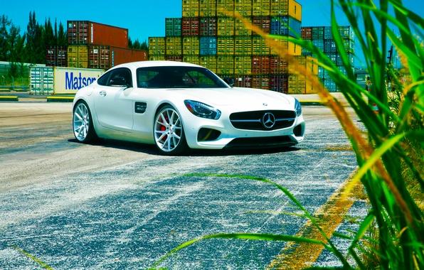 Picture Mercedes-Benz, Front, AMG, Color, White, Vossen, Wheels, 2015, GT S
