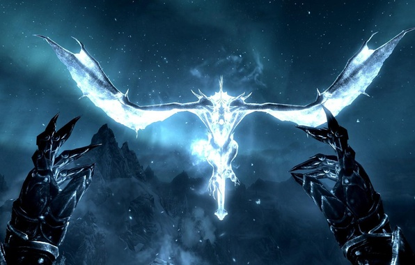 Picture stars, flight, night, dragon, the game, claws, gloves, The Elder Scrolls V: Skyrim