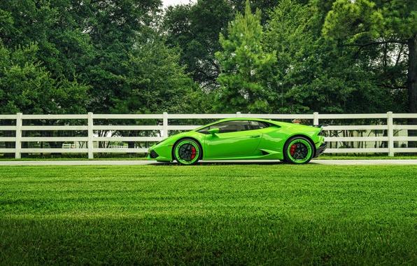 Picture Lamborghini, Green, Color, Side, Supercar, Wheels, ADV.1, Huracan, LP610-4