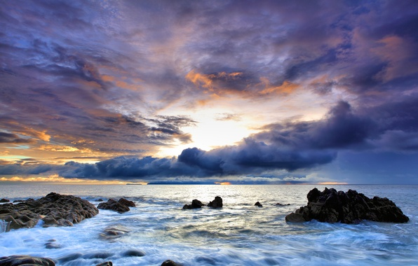 Picture sea, the sky, water, sunset, rocks, Portugal