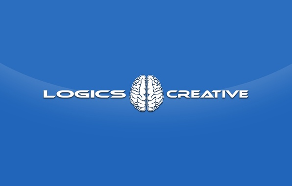 Picture blue, style, creative, the inscription, minimalism, brain, creativity, hemisphere, creative, logic, logical