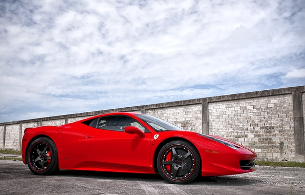 Picture the sky, asphalt, clouds, red, strip, shadow, red, wheels, ferrari, Ferrari, Italy, 458 italia