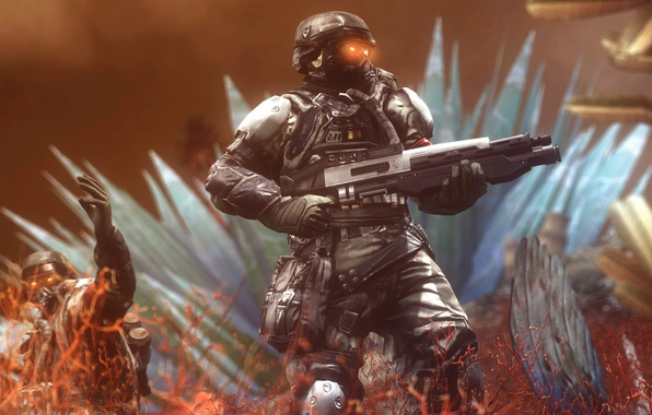 Picture rendering, weapons, soldiers, helmet, killzone, Killzone: Shadow Fall, Shadow Fall, helghast