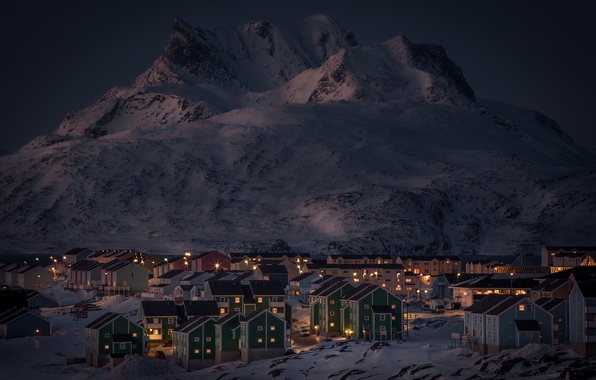Picture winter, snow, mountains, night, lights, lake, home, Greenland, Nuuk