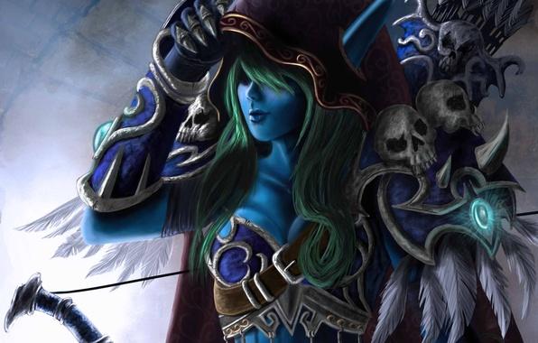 Picture bow, art, hood, skull, elf, arrows, world of warcraft, sylvanas, windrunner