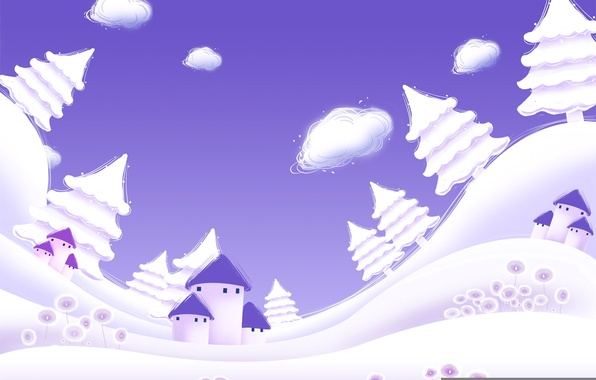 Picture winter, purple, clouds, snow, tree, vector