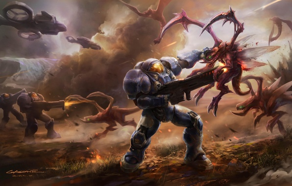 Picture weapons, transport, ships, war, the suit, art, monsters, armor, battle, StarCraft II, gasone