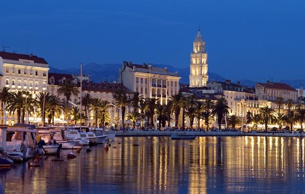Picture palm trees, building, Bay, boats, night city, boats, promenade, Croatia, Croatia, Split, Split