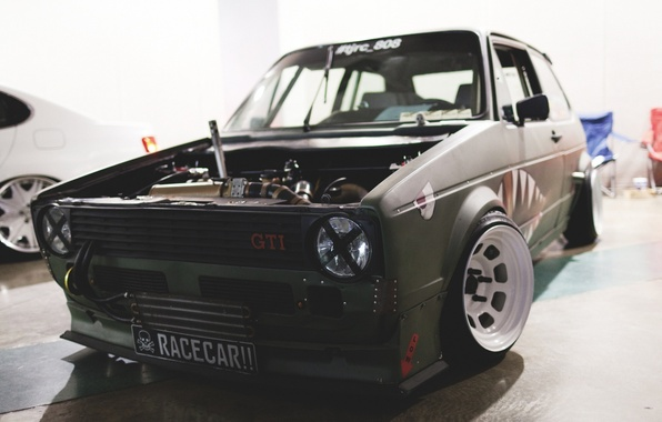 Picture Volkswagen, green, before, Golf, GTI, stance, Rabbit, Mk1