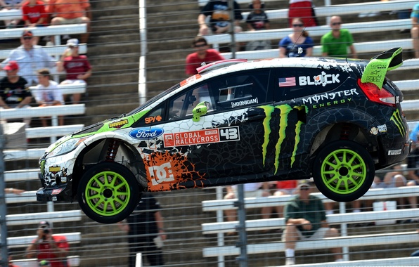 Picture Ford, Auto, Machine, Speed, People, Ford, Ken Block, Rally, Fiesta, Fiesta, rallycross, Side view, Tribune, ...
