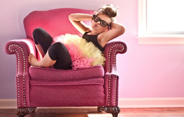 Picture chair, glasses, girl, hair