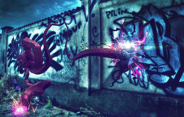Picture colorful, wallpaper, wall, graffiti, blue, background, abstraction, purple