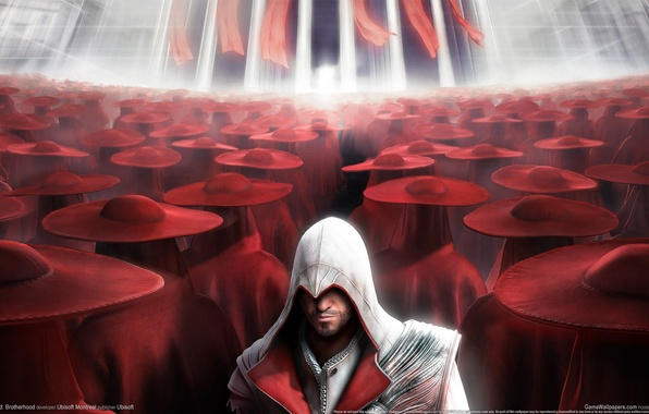 Picture red, assassins creed, brotherhood, hats, CGWallpapers