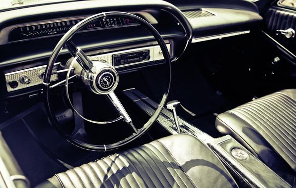 Picture car, panel, leather, devices, the wheel, salon, photo, photographer, retro, muscle car, markus spiske, interieur