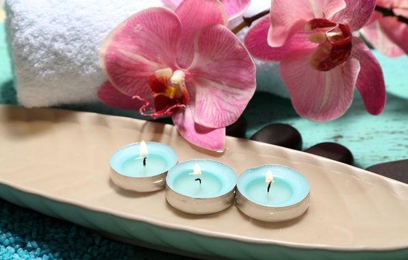 Picture flowers, towel, candles, Orchid