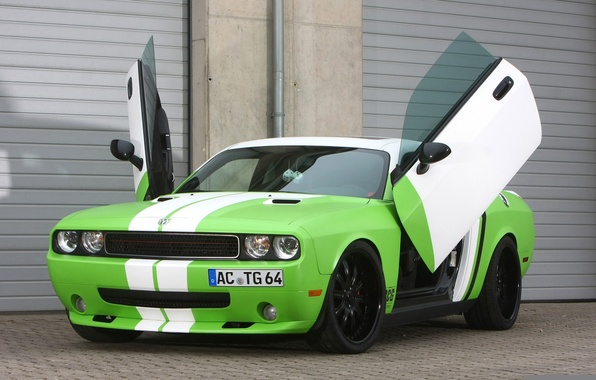Picture tuning, door, Dodge, green, Dodge, Challenger, rear view, tuning, Muscle car, chelenzher, Muscle car, Wrapped, …