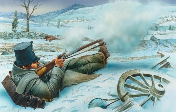 Picture winter, bridge, the city, river, figure, art, soldiers, shooting, rifle, the enemy, to stop