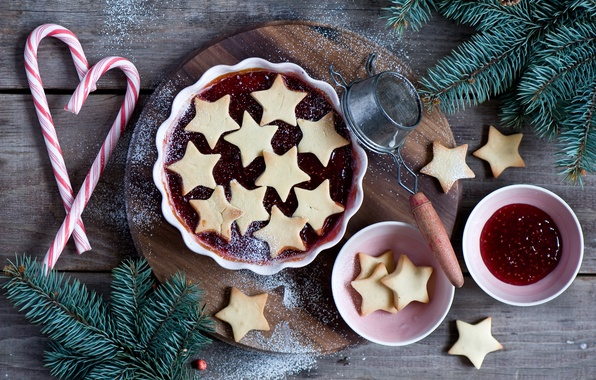 Picture branches, spruce, New Year, cookies, Christmas, candy, lollipops, stars, holidays, jam, jam, Christmas