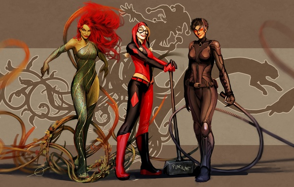 Picture art, dc comics, Catwoman, Selina Kyle, Harley Quinn, Poison Ivy, nebezial, Dr. Pamela Lillian Isley
