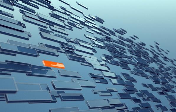 Picture one, pieces, blue, a lot, orange, panels