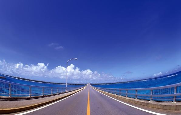 Picture road, clouds, bridge, markup, blue, line, lantern, railings