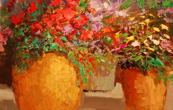Picture art, Sean Wallis, Potted Flowers